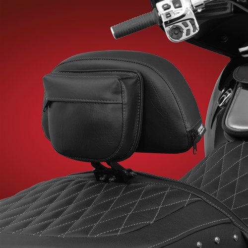 Black Smart Mount Backrest on Indian (Back View)