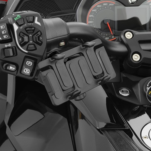 Black Mount GPS-Phone Holder on Spyder F3T (Horizontal Position)