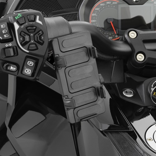 Black Mount  GPS-Phone Holder on Spyder F3T (Vertical Position)