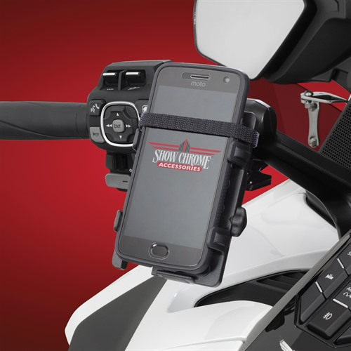 Black Handlebar Phone-GPS Holder on GL1800 (With Phone)