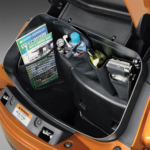 Trunk Organizer on Spyder (Left View Loaded)